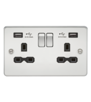 ML Accessories Flat Plate 13A 2G Switched Socket with Dual USB (Polished Chrome/Black)