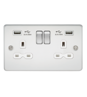 ML Accessories Flat Plate 13A 2G Switched Socket with Dual USB (Polished Chrome/White)
