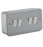 ML Accessories Metal Clad 10A 4G 2 Way Switch (Silver)