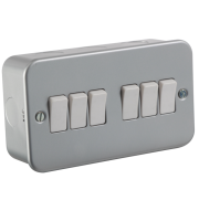 ML Accessories Metal Clad 10A 6G 2 Way Switch (Silver)