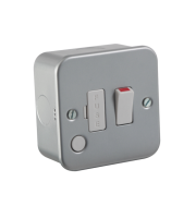 ML Accessories Metal Clad 13A Switched Fused Spur Unit with Flex Outlet x 10 Pack (Silver)