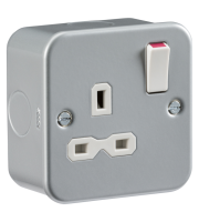 ML Accessories Metal Clad 13A 1G DP Switched Socket x 10 Pack (Silver)