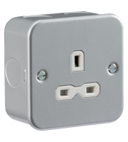 ML Accessories Metal Clad 13A 1G Unswitched Socket x 10 Pack (Silver)