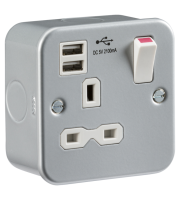 ML Accessories Metal Clad 13A 1G Switched Socket with Dual USB (Silver)