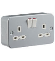 ML Accessories Metal Clad 13A 2G DP Switched Socket (Silver)