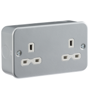 ML Accessories Metal Clad 13A 2G Unswitched Socket (Silver)
