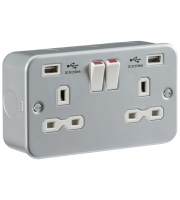 ML Accessories Metal Clad 13A 2G Switched Socket with Dual USB  (Silver)