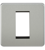 ML Accessories Screwless 1G Modular Faceplate (Brushed Chrome)