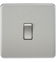 ML Accessories Screwless 10A 1G 2 Way Switch (Brushed Chrome)