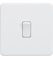 ML Accessories Screwless 10A 1G 2 Way Switch (Matt White)