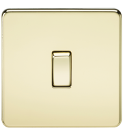 ML Accessories Screwless 10A 1G 2 Way Switch (Polished Brass)