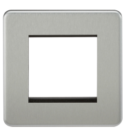 ML Accessories Screwless 2G Modular Faceplate (Brushed Chrome)