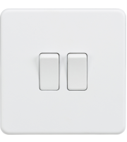 ML Accessories Screwless 10A 2G 2 Way Switch (Matt White)