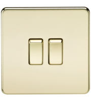 ML Accessories Screwless 10A 2G 2 Way Switch (Polished Brass)