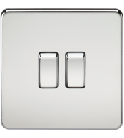 ML Accessories Screwless 10A 2G 2 Way Switch (Polished Chrome)