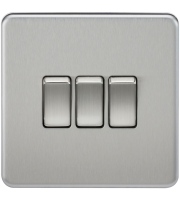 ML Accessories Screwless 10A 3G 2 Way Switch (Brushed Chrome)