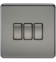 ML Accessories Screwless 10A 3G 2 Way Switch (Black Nickel)