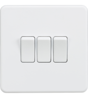 ML Accessories Screwless 10A 3G 2 Way Switch (Matt White)