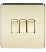 ML Accessories Screwless 10A 3G 2 Way Switch (Polished Brass)