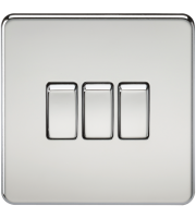 ML Accessories Screwless 10A 3G 2 Way Switch (Polished Chrome)
