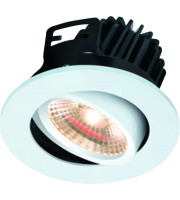 ML Accessories IP20 7W LED 3000K Warm White Tilt Downlight With Fixed Bezel (White)