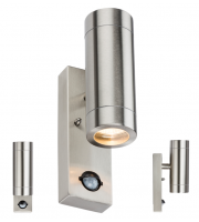 ML Accessories IP44 2 x GU10 Up/Down Wall Light with PIR (Stainless Steel)