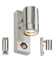 ML Accessories IP44 GU10 Wall Light with PIR (Brushed Steel)