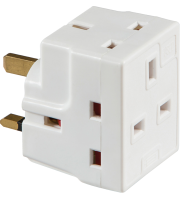 ML Accessories 13A 3 Way Fused Mains Adaptor x 10 Pack (White)