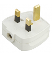 ML Accessories 13A Plug Top with 3A Fuse Screw Cord Grip x 20 Pack (White)