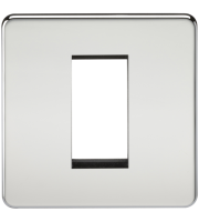 ML Accessories Screwless 1G Modular Faceplate (Polished Chrome)