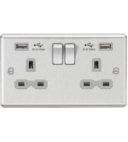ML ACCESSORIES 13A 2G Switched Socket Dual Usb Charger Slots With Grey Insert - Rounded Edge Brushed Chrome