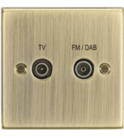 ML ACCESSORIES Diplex Tv & Fm Dab Outlet - Square Edge Antique Brass