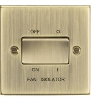 ML ACCESSORIES 10A 3 Pole Fan Isolator Switch - Square Edge Antique Brass