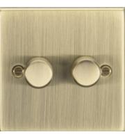 ML ACCESSORIES 2G 2 Way 10-200W Dimmer - Square Edge Antique Brass
