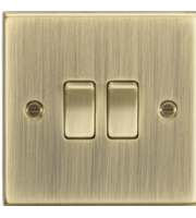 ML ACCESSORIES 10A 2G 2 Way Plate Switch - Square Edge Antique Brass