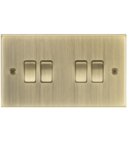 ML ACCESSORIES 10A 4G 2 Way Plate Switch - Square Edge Antique Brass