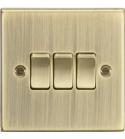 ML ACCESSORIES 10A 3G 2 Way Plate Switch - Square Edge Antique Brass