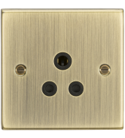 ML ACCESSORIES 5A Unswitched Socket - Square Edge Antique Brass Finish With Black Insert