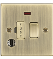 ML ACCESSORIES 13A Switched Fused Spur Unit With Neon & Flex Outlet - Square Edge Antique Brass