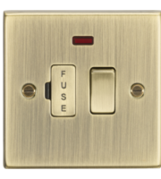 ML ACCESSORIES 13A Switched Fused Spur Unit With Neon - Square Edge Antique Brass