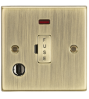 ML ACCESSORIES 13A Fused Spur Unit With Neon & Flex Outlet - Square Edge Antique Brass