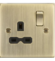 ML ACCESSORIES 13A 1G Dp Switched Socket With Black Insert - Square Edge Antique Brass