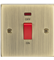 ML ACCESSORIES 45A Dp Switch With Neon (single Size) - Square Edge Antique Brass
