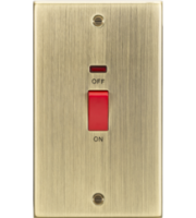 ML ACCESSORIES 45A Dp Switch With Neon (double Size) - Square Edge Antique Brass