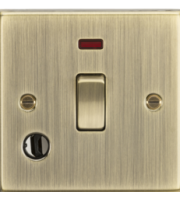 ML ACCESSORIES 20A 1G Dp Switch With Neon & Flex Outlet - Square Edge Antique Brass