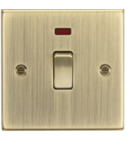 ML ACCESSORIES 20A 1G Dp Switch With Neon - Square Edge Antique Brass