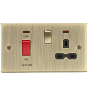 ML ACCESSORIES 45A Dp Cooker Switch&13A Switched Socket W/Neons & Black Insert-Square Edge Antique Brass
