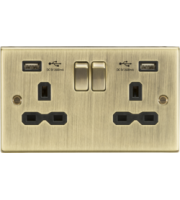 ML ACCESSORIES 13A 2G Switched Socket Dual Usb Charger (2.4A) With Black Insert - Square Edge (Antique Brass)