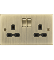 ML ACCESSORIES 13A 2G Switched Socket With Black Insert - Square Edge Antique Brass