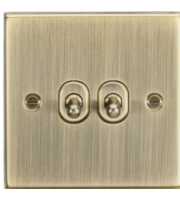 ML ACCESSORIES 10A 2G 2 Way Toggle Switch - Square Edge Antique Brass